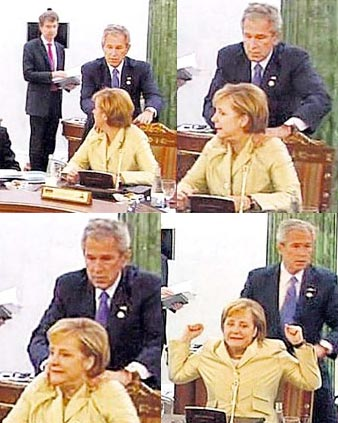 Bush groping German Chancellor Angela Merkel