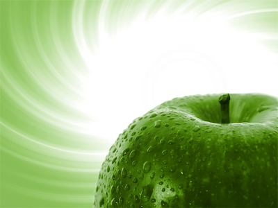 wallpaper green apple. Wet Green Apple wallpaper