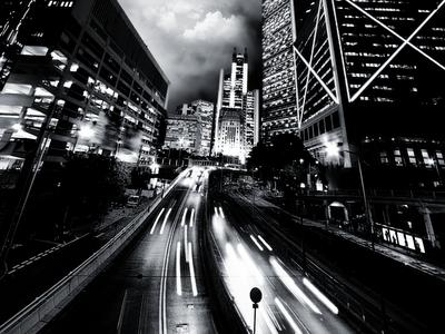 black and white city skyline