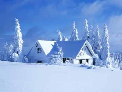 mountian cabin snow