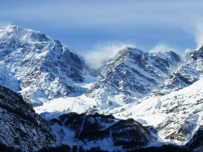 mountain landscape, snow, winter