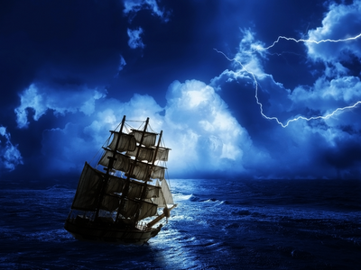 old masted ship, lightning storm, ocean moonlight