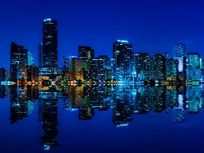 blue city skyline, city at night