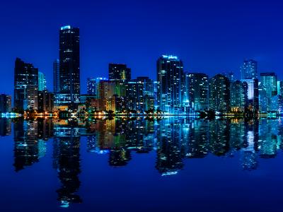 blue city skyline, city at night
