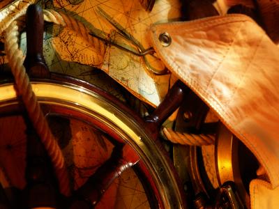 old map, steering wheel, sail, rigging