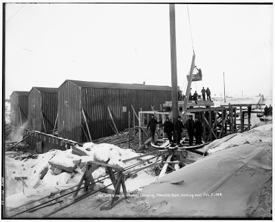 Construction at the moveable dam Chippewa County, Michigan, 1901-02