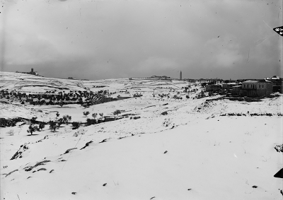 Jerusalem, Mount of Olives during a snowy winter circa 1915.