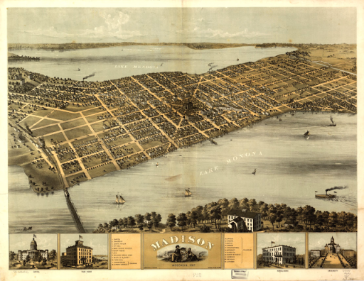 Map Madison Wisconsin in1867