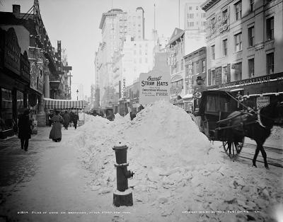 Piles of snow on Broadway, New York c1905