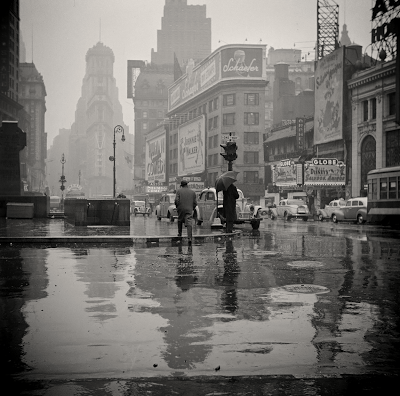 Times Square New York on a rainy day, 1943