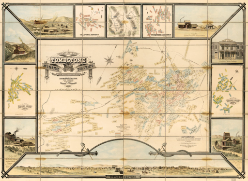 Tombstone Arizona Mines Map1881
