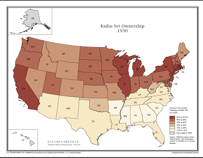Radio set ownership by state in 1930