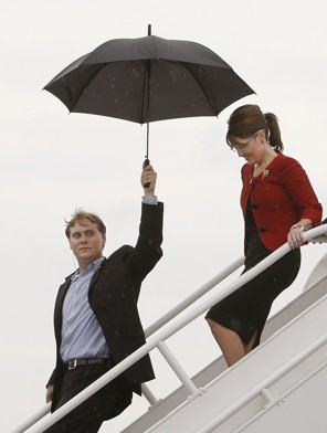 Anti-American loon Sarah Palin with umbrella holder